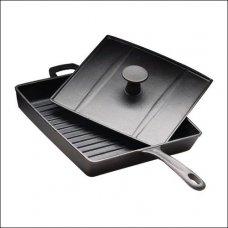 Сковорода для цыплят табака чугунная квадратная 27*27см, h=4см , Артикул: 1594, Производитель: Китай