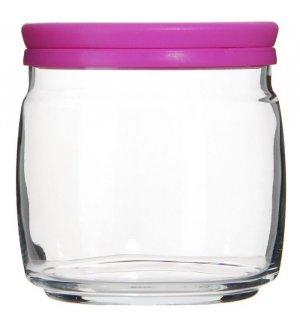 Банка для сыпучих продуктов с розовой крышкой Чешни 650мл, Артикул: 43003, Производитель: Pasabahce (Россия)