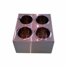 Емкость для столовых приборов нержавеющая квадратная 4 стакана, Артикул: 751/1, Производитель: Китай
