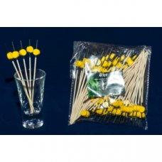 Пики деревянные желтые Шайба 100 штук (L=12см), Артикул: 64-10015, Производитель: Китай