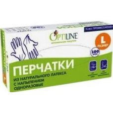 Перчатки одноразовые латексные с напылением OptiLine L (50 пар), Артикул: 27-2004, Производитель: ОптиЛайн (Россия)