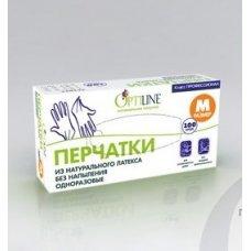 Перчатки одноразовые латексные без напыления OptiLine M (100 пар), Артикул: 27-2120, Производитель: ОптиЛайн (Россия)