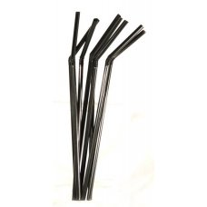 Трубочки коктейльные черные с гофрой 1000 штук (0,5*21см)