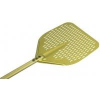 Лопата для пиццы прямоугольная перфорированная Gimetal 33*33см, L=140см