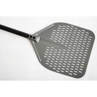 Лопата для пиццы прямоугольная перфорированная Gimetal 33*33см, L=150см