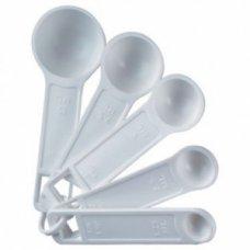 Набор мерных ложек из белого пластика Linden (5 штук)