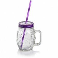 Банка для коктейля МЯЧ с фиолетовой крышкой и ручкой  450мл