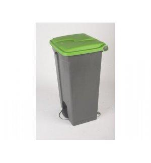 Бак для мусора с педалью и на колесах, серый с зеленой крышкой Probbax 90л, Артикул: SO-1290-GRY+GRN, Производитель: Probbax (США)