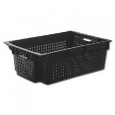 Ящик для овощей конусный, перфорированный 600*400*200мм (черный), Артикул: 40852, Производитель: Агропак-Поставщик
