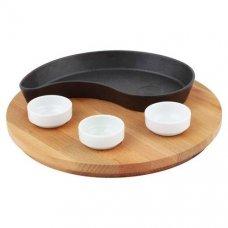 Сковорода для фахитос, овальная полумесяц на деревянной подставке LAVA 20*10см, Артикул: LV ECO FT D 1020 K4, Производитель: LAVA (Турция)