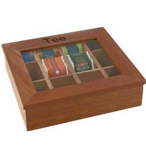 Деревянный контейнер для пакетиков чая APS 12 отделений (коричневый), Артикул: 11776, Производитель: APS (Германия)