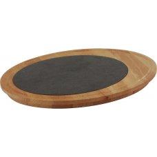 Блюдо для подачи круглое деревянное с керамической вставкой LAVA d=35см, h=4см, Артикул: LV AS 164, Производитель: LAVA (Турция)