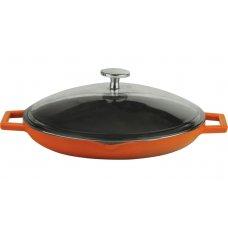 Сковорода чугунная со стеклянной крышкой LAVA d=30см (оранжевая), Артикул: LV Y STV 30 K3 ORANGE, Производитель: LAVA (Турция)