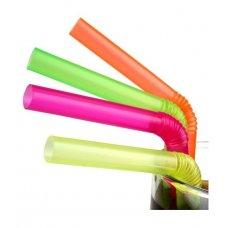 Трубочки коктейльные цветные с гофрой Джамбо 500 штук (0,8*24см)