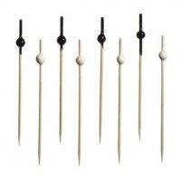 Пики бамбуковые черные и белые шарики 100 штук (L=10см)