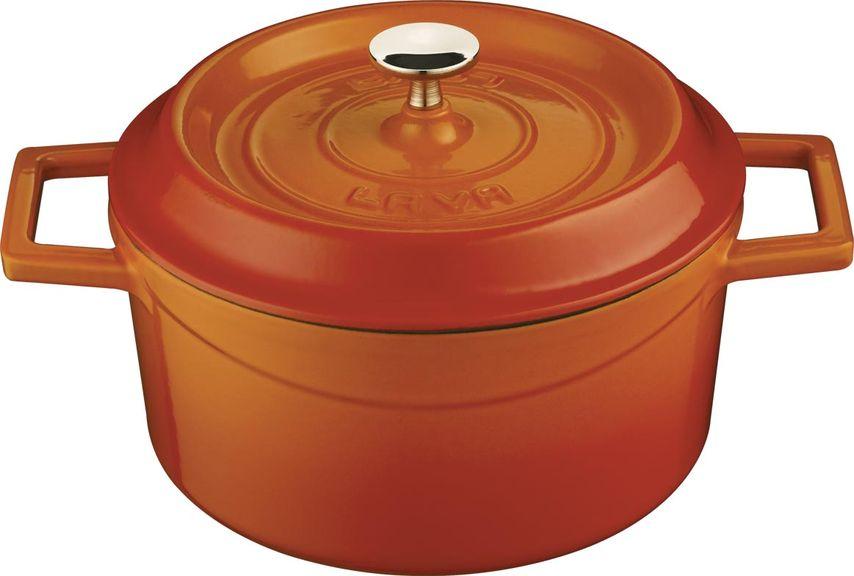 Кастрюля чугунная LAVA 0,55л (d=12см) оранжевая